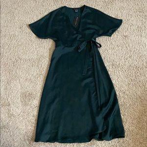 Emerald green wrap dress